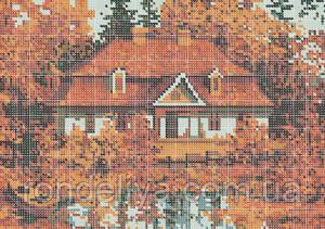 Схема для вышивки бисером «Осенний домик»