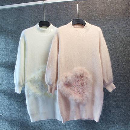 Платье с меховым сердцем и пайетками, фото 2