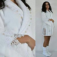 Женский белый махровый халат с кружевом +сапожки