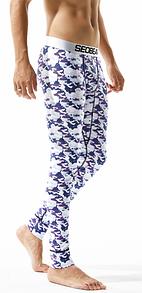 Белые хлопковые мужские подштанники с фиолетовым рисунком SEOBEAN. Артикул: ТВ22