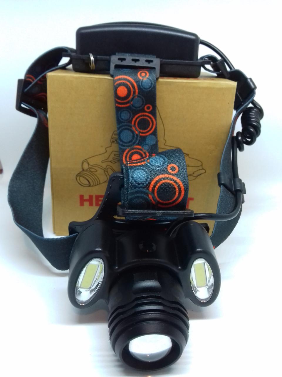 Налобный фонарь Bailong BL-862-T6+COB сверхяркий на двух аккумуляторах типа 18650