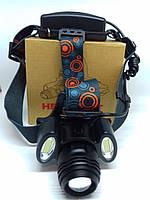 Налобный фонарь Bailong BL-862-T6+COB сверхяркий на двух аккумуляторах типа 18650, фото 1
