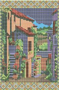 Схема для вышивки бисером «Пейзаж дворик»