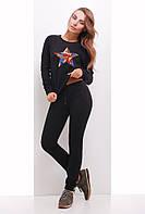 Спортивный костюм женский 1742 женская спортивная одежда, черный, 46