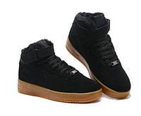 """""""Nike Air Force"""" зимние черные мужские кроссовки"""