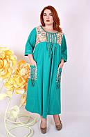 Платье большого размера Этно (4 цвета), оригинальное платье большого размера 68, молоко