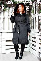 Плащ женский большого размера Вельбо (2 цвета), демисезонное пальто большого рзмера 48, черный