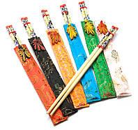 Палочки для еды бамбуковые с рисунком в футляре (набор 6 пар)