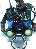 Налобный фонарь Bailong BL-878-T6+COB сверхяркий аккумуляторный
