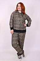 Спортивный костюм женский большого размера Классика меланж, трикотажный костюм большого размера 50, коричневый