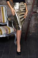 Юбка кожаная Юбка Ирма золото, юбка эко-кожа, юбка кожаная, юбка золотистого цвета