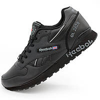 Мужские кожаные кроссовки Reebok classic GL 2620 (Рибок класик черные) р.(44)