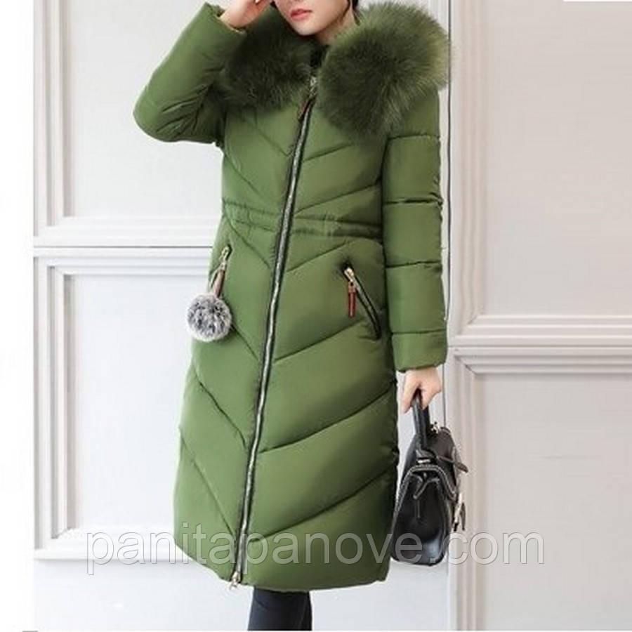 Женское длинное зимнее пальто - парка с искусственным мехом оливкового цвета