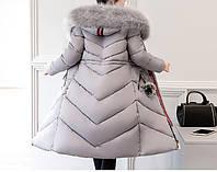 Зимнее пальто - парка с искусственным мехом серое, фото 1