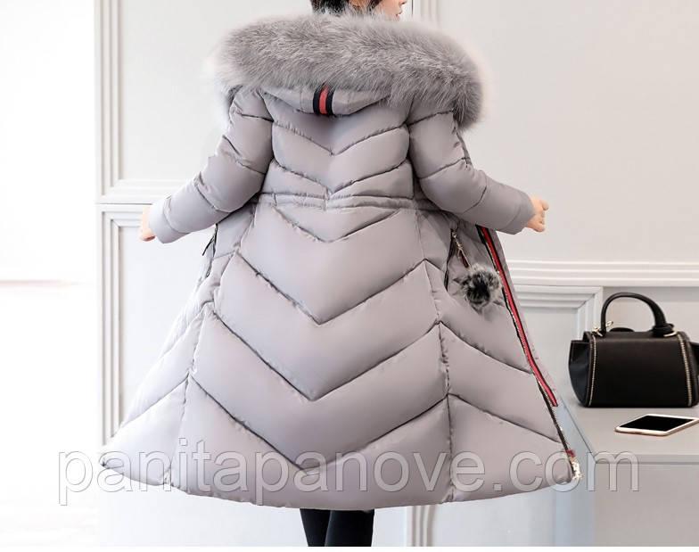 Зимнее пальто - парка с искусственным мехом серое