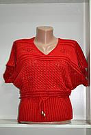 Женская вязаная жилетка красного цвета на кулиске, фото 1