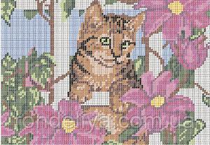 Схема для вышивки бисером «Котенок в саду»