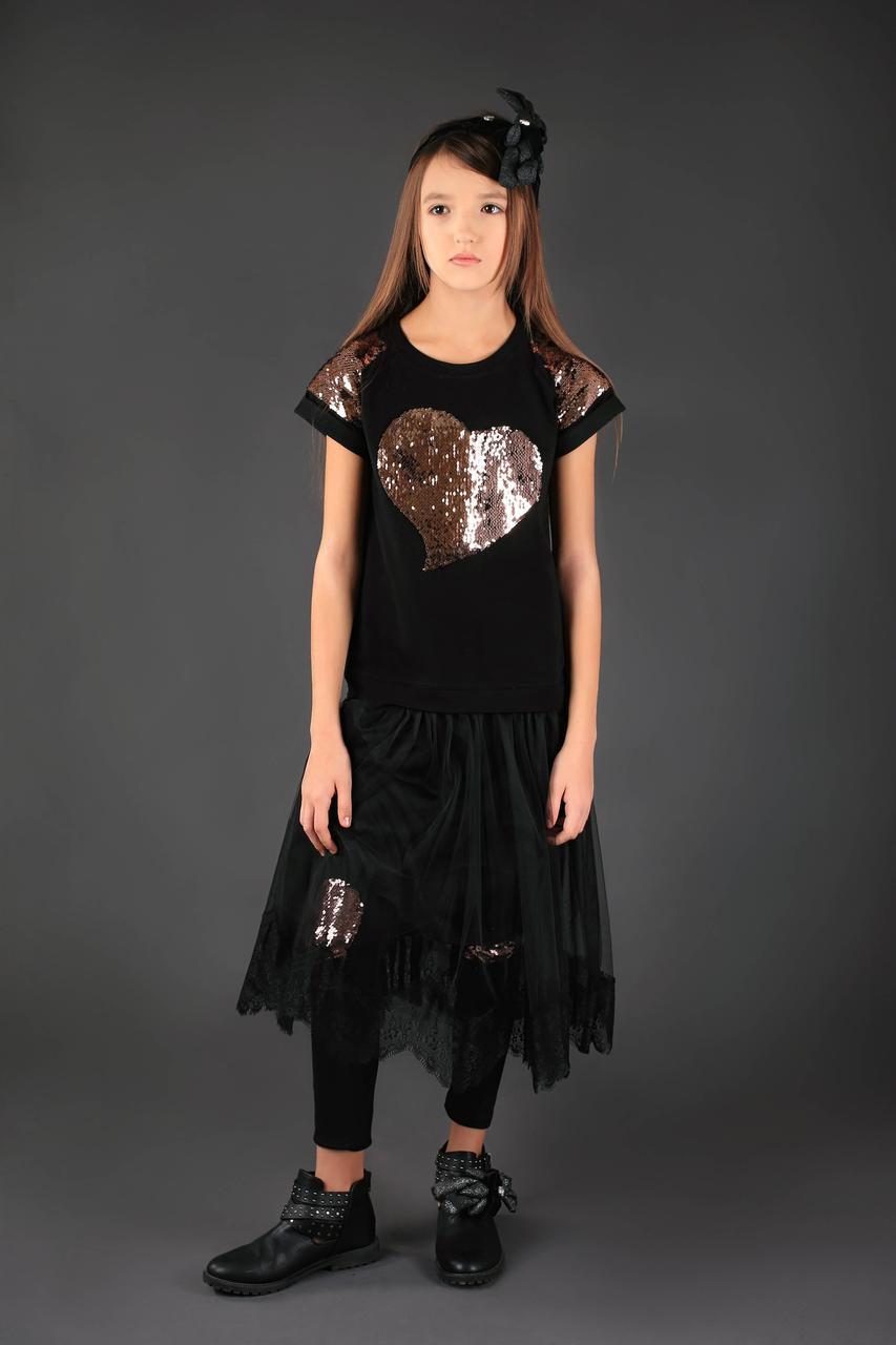 Черное платье в школу тм Моне р-ры 140-146