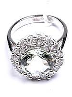 Кольцо серебряное с зелёным аметистом (празиолитом)