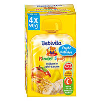 "Bebivita  Kinder Spaß Vollkorn in Apfel-Banane  ""Детская Забава"" яблоко-банан и зерновые 4 шт.x 90 г, с 1 года"