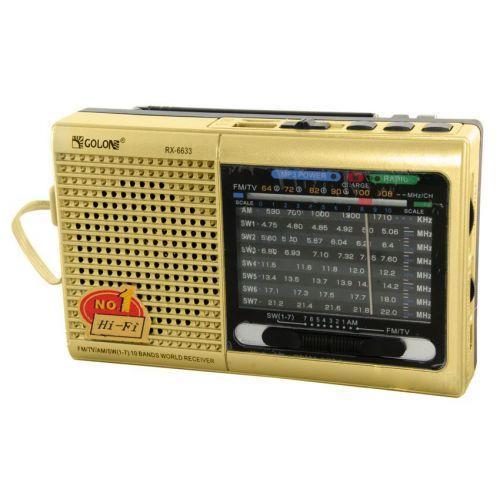 Портативная колонка радио MP3 USB Golon RX 6633 Gold