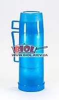 Термос 500мл пластиковый со стеклянной колбой (цвет - голубой) Stenson DB105T