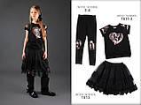 Школьная блузка с сердцем черная  тм МОНЕ р-ры 146, фото 5