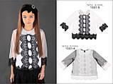Школьная нарядная блузочка с воротником из биссера МОНЕ р-ры 122,128,140,146,152, фото 2
