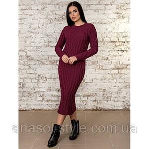 Платье вязаное бордовое
