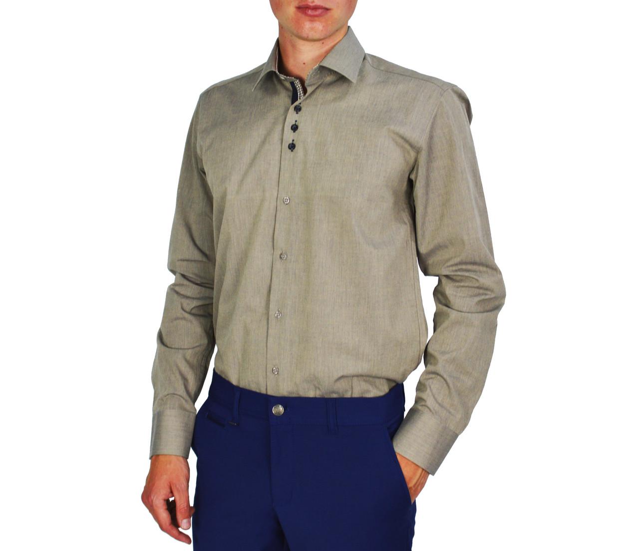 Кофейная мужская рубашка классическая PALMEN