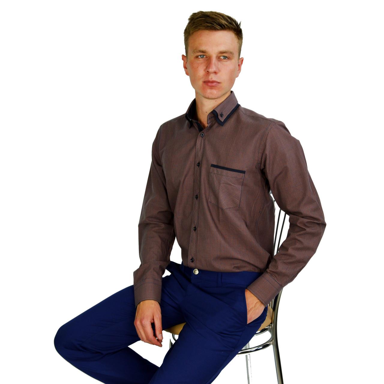 Коричневая в синюю клетку мужская рубашка классическая PALMEN