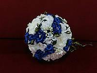 Свадебный букет-дублер из пион белый с синим