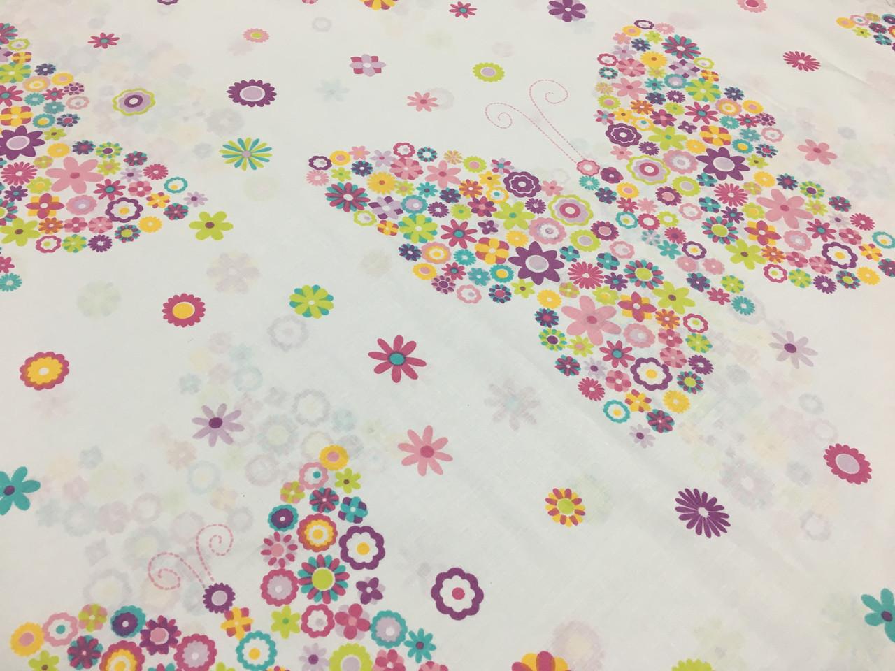 """Польская хлопковая ткань """"бабочки из цветов разноцветных"""""""