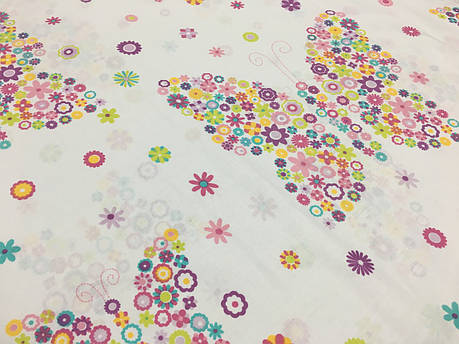 """Польская хлопковая ткань """"бабочки из цветов разноцветных"""" , фото 2"""
