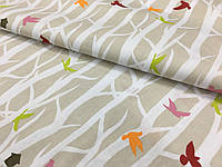 """Польская хлопковая ткань """"лес с разноцветными птичками на бежевом"""""""