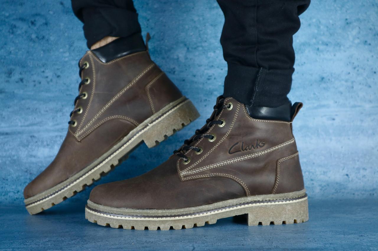 Мужские ботинки Clarks Crayzy зимние (черные), ТОП-реплика