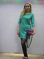 Женское платье нежно-зелёного цвета с  рукавом 3/4 Exclusive р.46