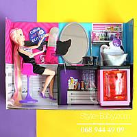 Кукла Барби 31см,шарнирная Салон красоты: душ льется вода,блеск,аксессуары,в коробке 40,5-29,5-8 см