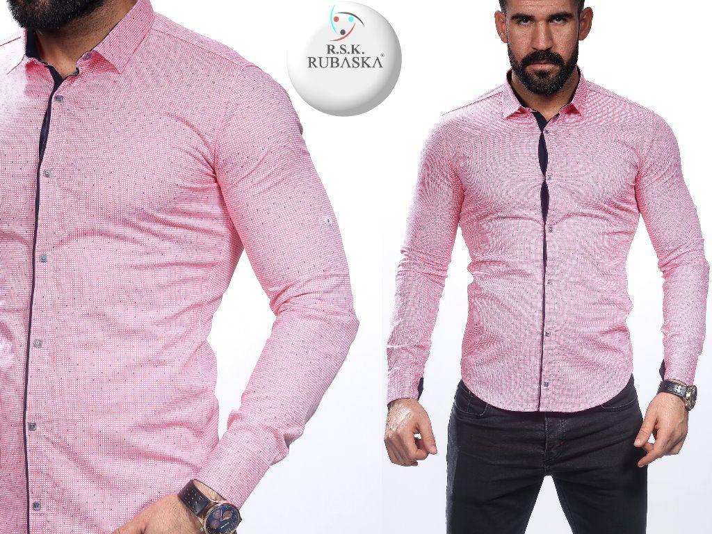 Мужская розовая приталенная рубашка