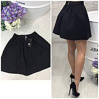 Черная мини-юбка клеш