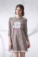 Жіноча нічна сорочка кольору какао з візерунком чашки на грудях LND 107-001
