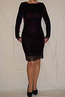 Велюровое платье с французским кружевом шантильи