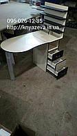 Маникюрный стол с 4 полками для лаков белый с венге