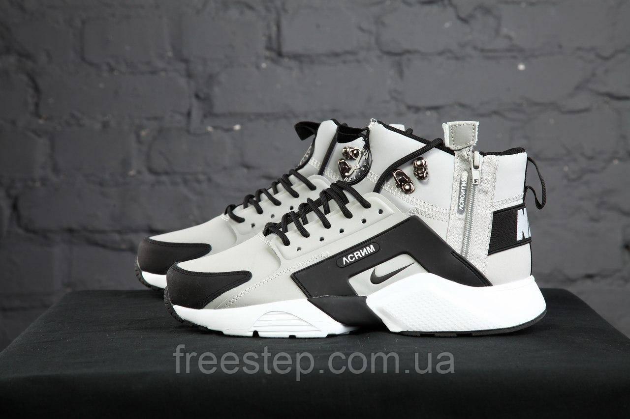 3c2191b0 Зимние кроссовки в стиле Nike Air Huarache X Acronym City MID Lea, нубук,  серые