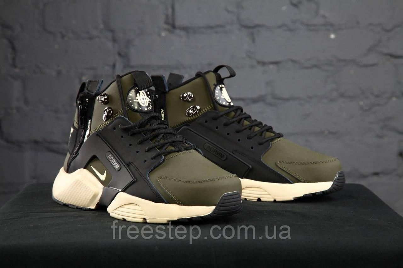 dd7fac3a Зимние кроссовки в стиле Nike Air Huarache X Acronym City MID Lea, нубук,  хаки