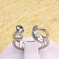 011-0028 - Кольцо Swarovski Marquise Crystal и прозрачные фианиты родий, 16.5-17, 18-18.5 р.