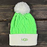 Женская зимняя шапка UGG, с бубоном, цвет салатовый