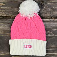 Женская зимняя шапка UGG, с бубоном, цвет ярко розовый