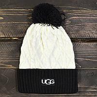 Женская зимняя шапка UGG, с бубоном, цвет белый