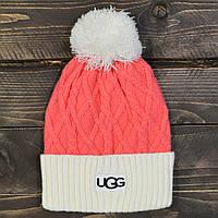 Женская зимняя шапка UGG, с бубоном, цвет темно розовый